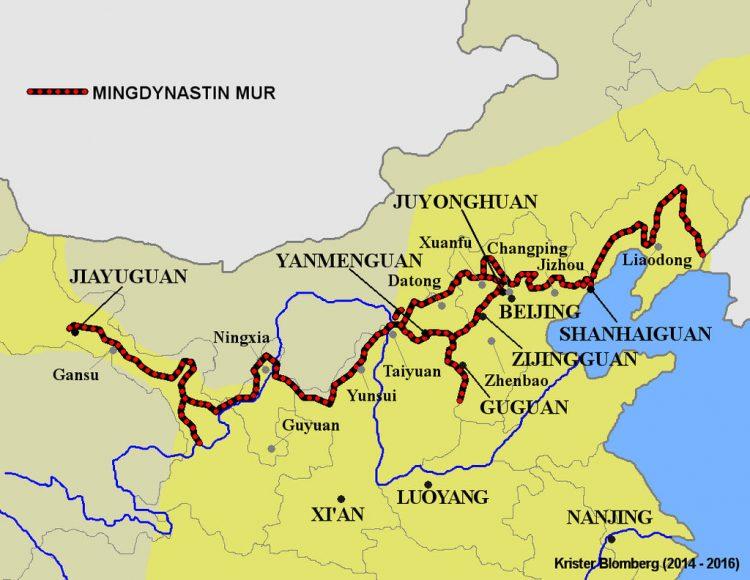 Карта Великой китайской стены династии Мин