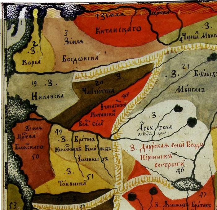 """карта Семёна Ремезова из """"Хорографической чертёжной книги Сибири"""" (1699г.)"""