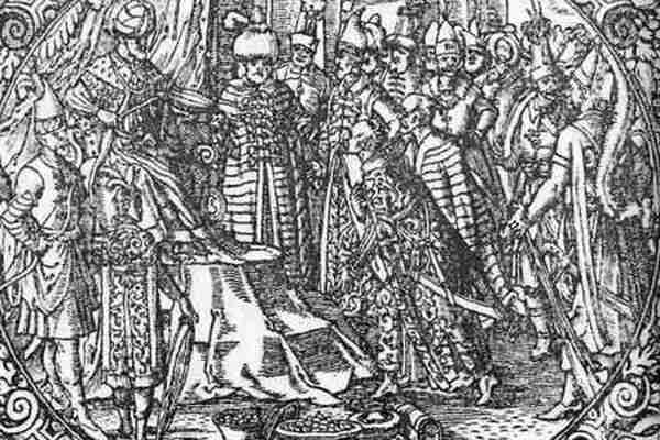 Русский Царь принимает послов. Гравюра из книги З. Герберштейна. 1576г.