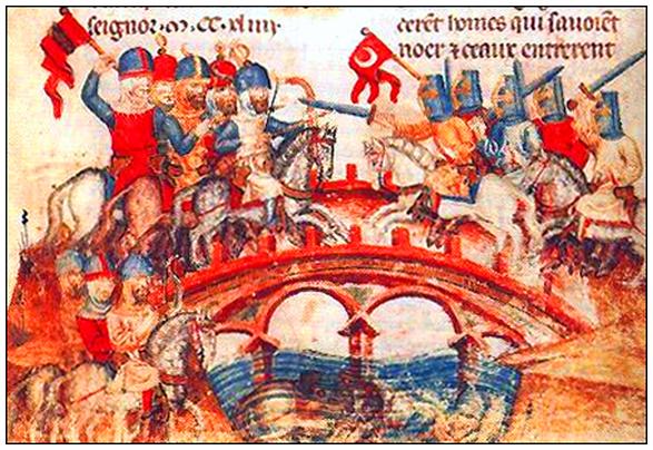 Битва монголов с венграми. Фреска.