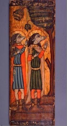 Святые Ахракас и Аугани, Коптская икона.