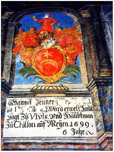 """Фреска швейцарского замка """"Шильен"""", близь города Монтрё, на берегу Женевского моря."""