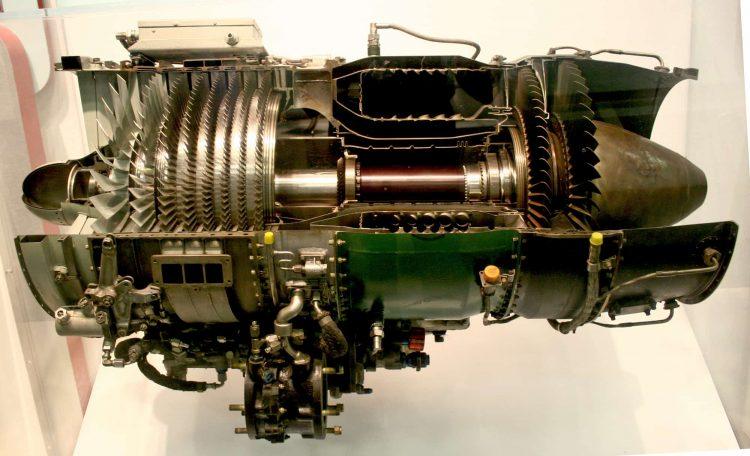 Flugzeug Motor als Rückstoß-Durchfluß-Gasturbine