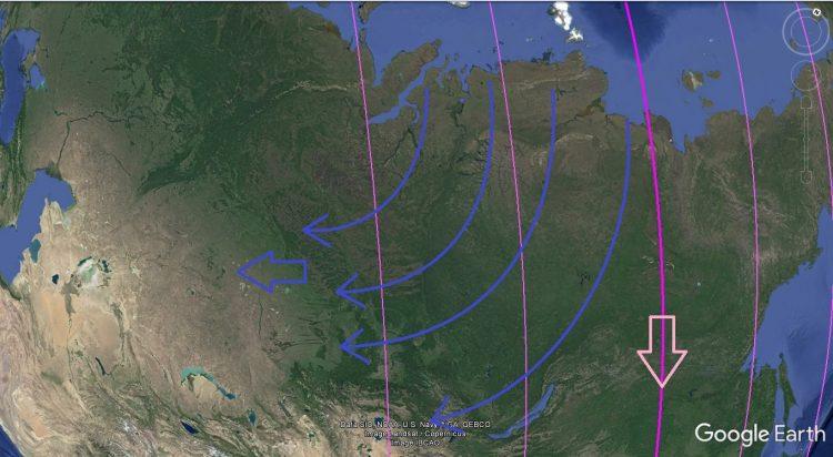 Карта. Сдвиг полюсов. Сибирь и направление 1 и 2 инерционных составляющих 3