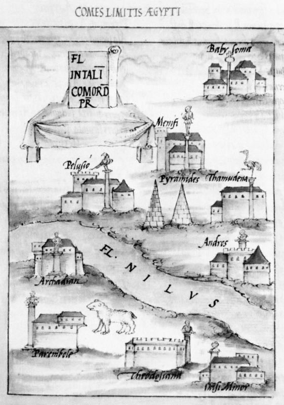 Египетские пирамиды на средневековой гравюре.