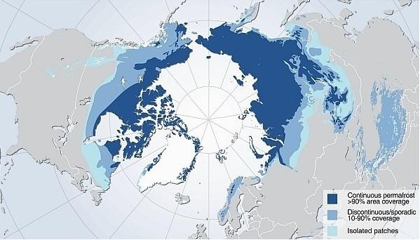 Карта вечной мерзлоты северного полушария Земли.