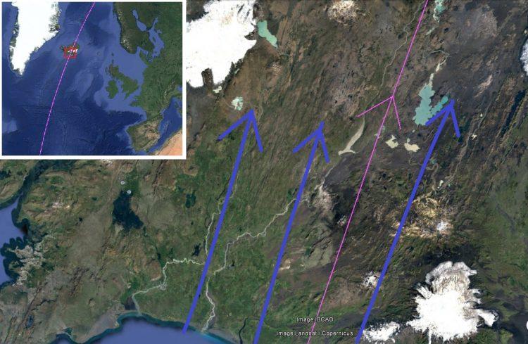 Карта. Сдвиг полюсов. Остров Исландия следы потока