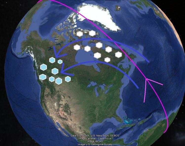 Карта. Сдвиг полюсов. Северная Америка перемещение льда в Кордильеры