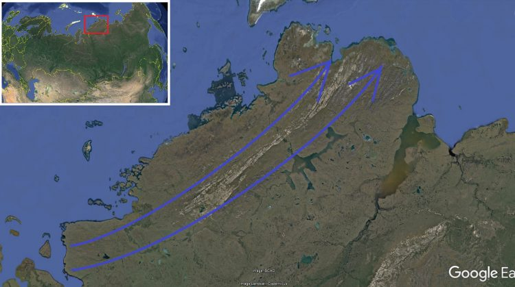 Карта. Сдвиг полюсов. Таймыр направление водных потоков