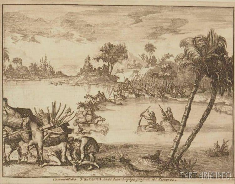 Тартарские воины форсируют реку