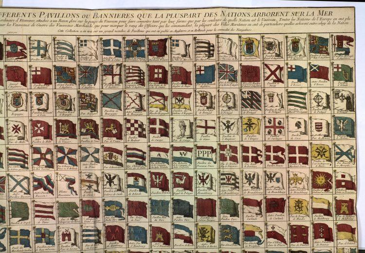 Pavillons et bannières maritimes du XVIIIe siècle