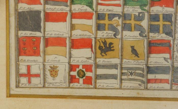 Tableau de tous les pavillons que l'on arbore sur les vaisseaux dans les quatre parties du monde.