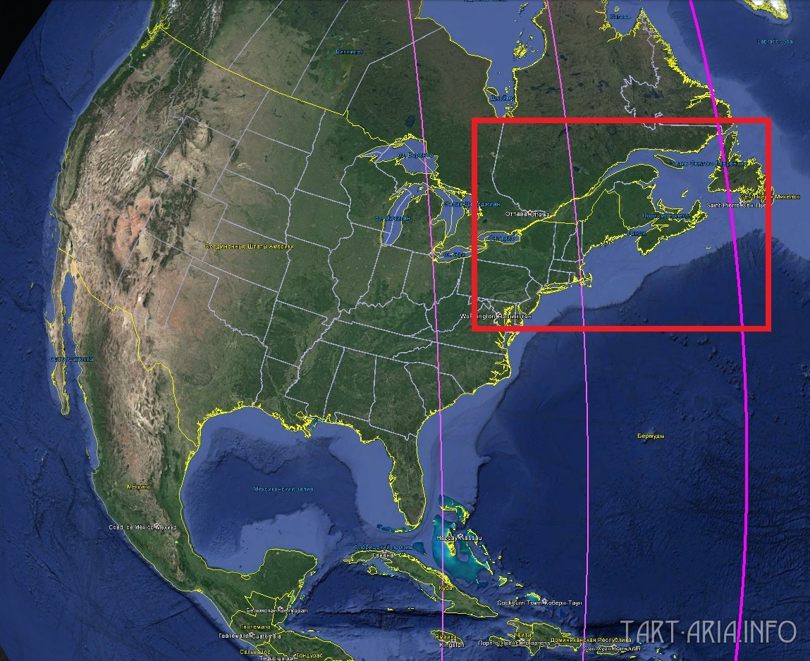 Карта. Сдвиг полюсов. Северная Америка северо-восток вид