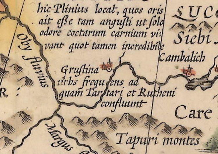 Грустина на карте И. Гондиуса 1606г