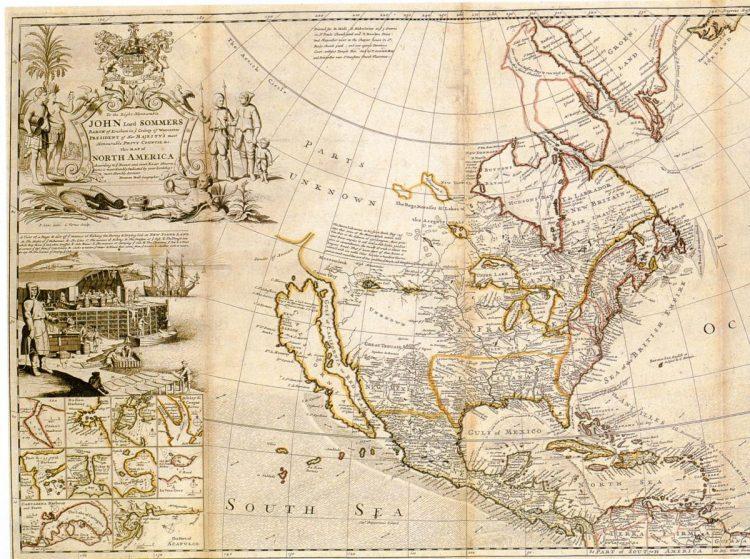 Карта северной Америки 1720г. Лондон