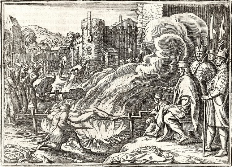Ivan the Terrible roasts Johann Boy, governor of Livonia, on a spit, 1573. IMAGE/ Engraving, c. 1630.