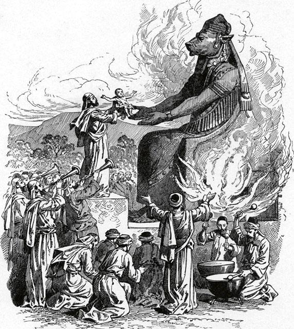 Opferung eines Kindes dem Baal