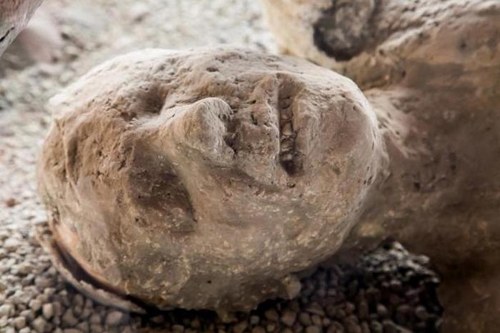 Окаменевшее тело, погибшего при извержении Везувия, жителя Помпеи