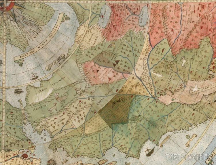 Фрагмент карты мира Урбано Монте 1587г. Берингов пролив, Аляска и Канада.