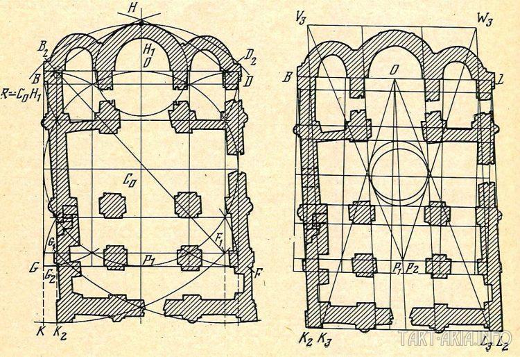План Георгиевского собора Юрьева монастыря в Каневе.[Желоховцева Е.Ф.]