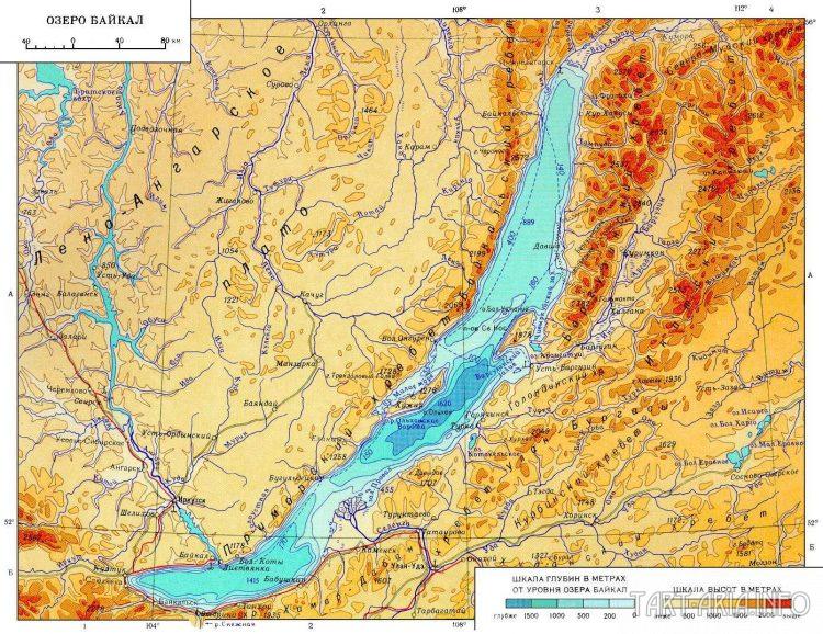 Рис. 21. Физическая карта озера Байкал.