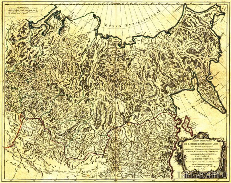 Рис. 30. Карта Азии, Gilles Robert De Vaugondy, 1750 г.