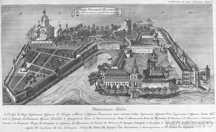 Рис. 6. Нилова Пустынь сверху, гравюра начала XIXв.