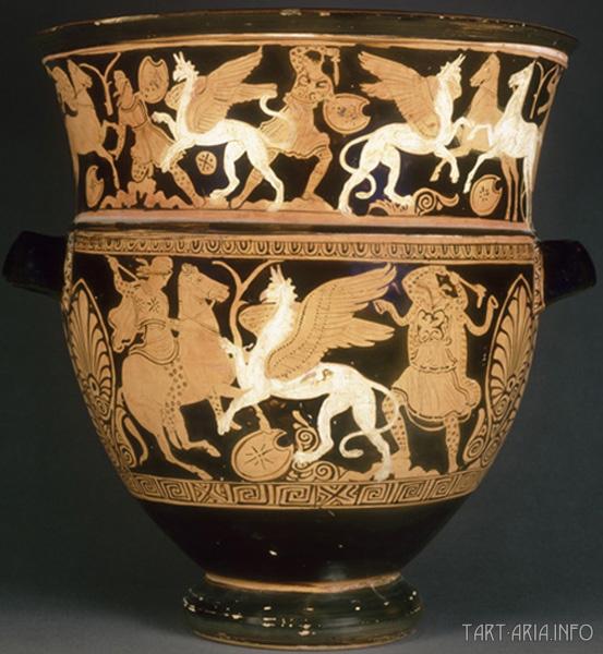 Аримаспы и грифоны, Лувр, Париж, 400-300г. до н.э. Источник