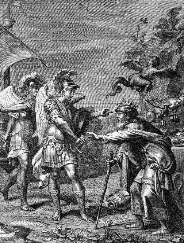 Финес, король Фракии, спасенный от гарпий с помощью бореадов Кале и Зите в ходе их путешествия с Ясоном и аргонавтами. Медная гравюра, 1731г. Бернард Пикарт Источник