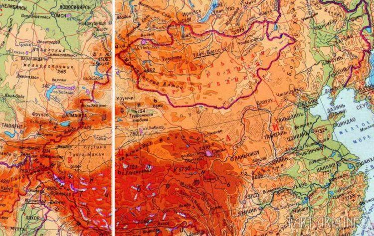 Фрагмент физической карты Евразии. Источник