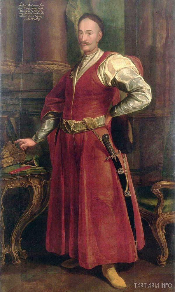 Станислав Антоний Щука в представительской красной одежде - традиционный сарматский костюм, 1735-1740 гг., неизвестный автор, дворец в Виланув