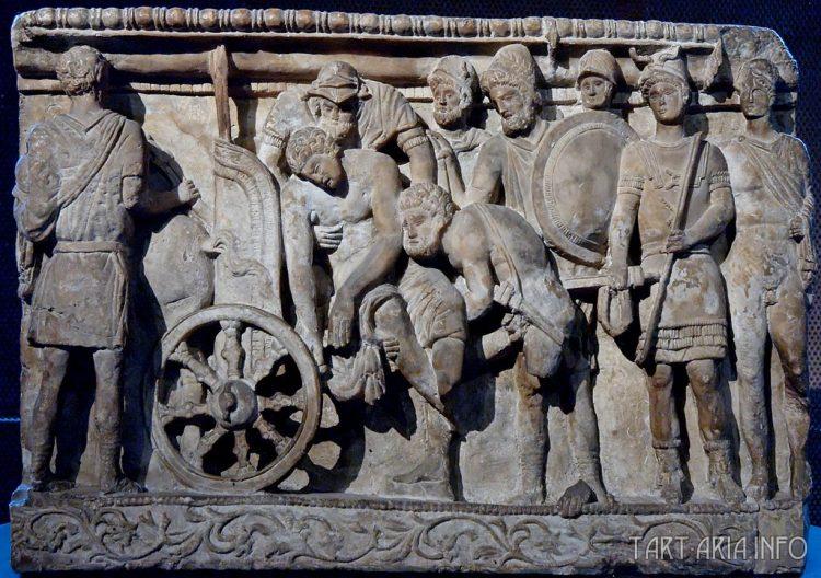 Урна из алебастра, этрусские произведения искусства из Вольтерры, 2 век до н.э.