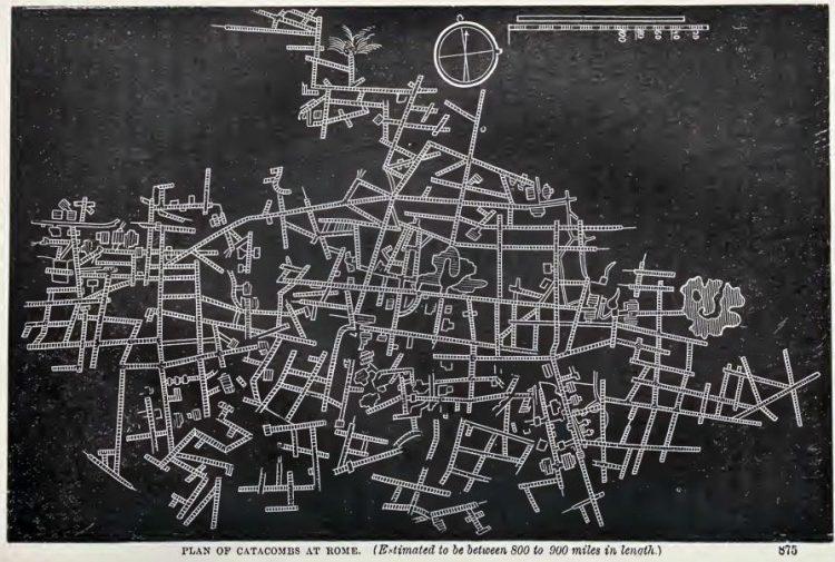 План катакомб Рима (Предполагается, что длина составляет от 800 до 900 миль. 1400 – 1670км)