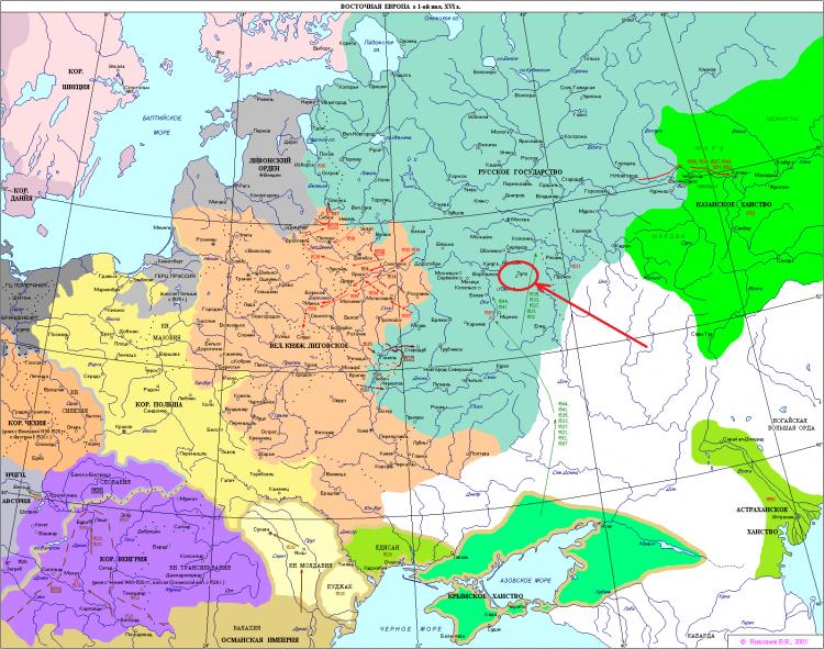 Восточная Европа в 1550 году