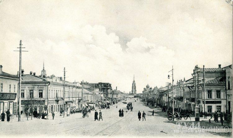 Тула, ул. Киевская (ныне проспект Ленина) середина XIX века. Вид на кремль.