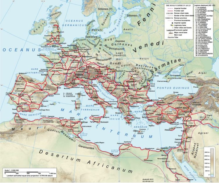 Главные дороги Римской империи во времена Адриана (117-138гг. н.э.) Источник