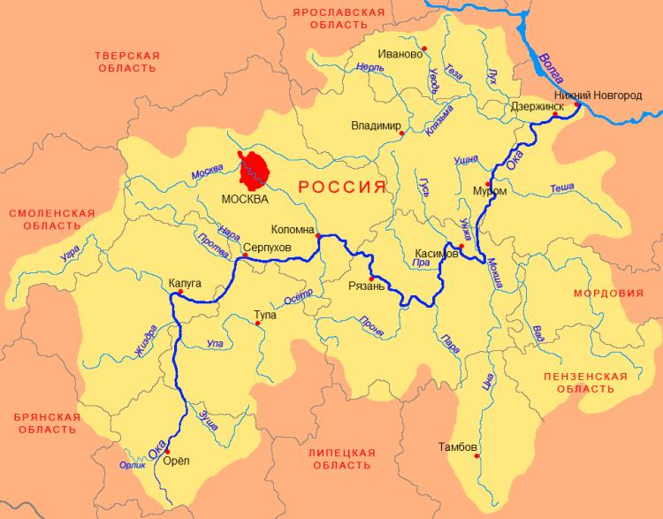 Бассейн реки Ока (правый приток Волги)