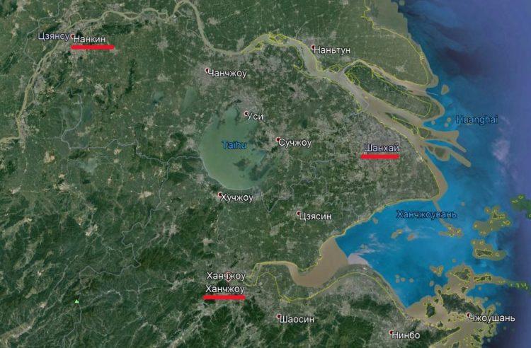 Фрагмент спутниковой карты Китая. Река Янцзы, Нанкин, Шанхай, Хучжоу