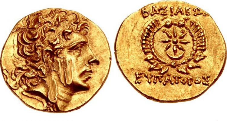 Монета с царем Понтийского царства – Митридатом VI Евпатором, 109-63 гг до н.э..