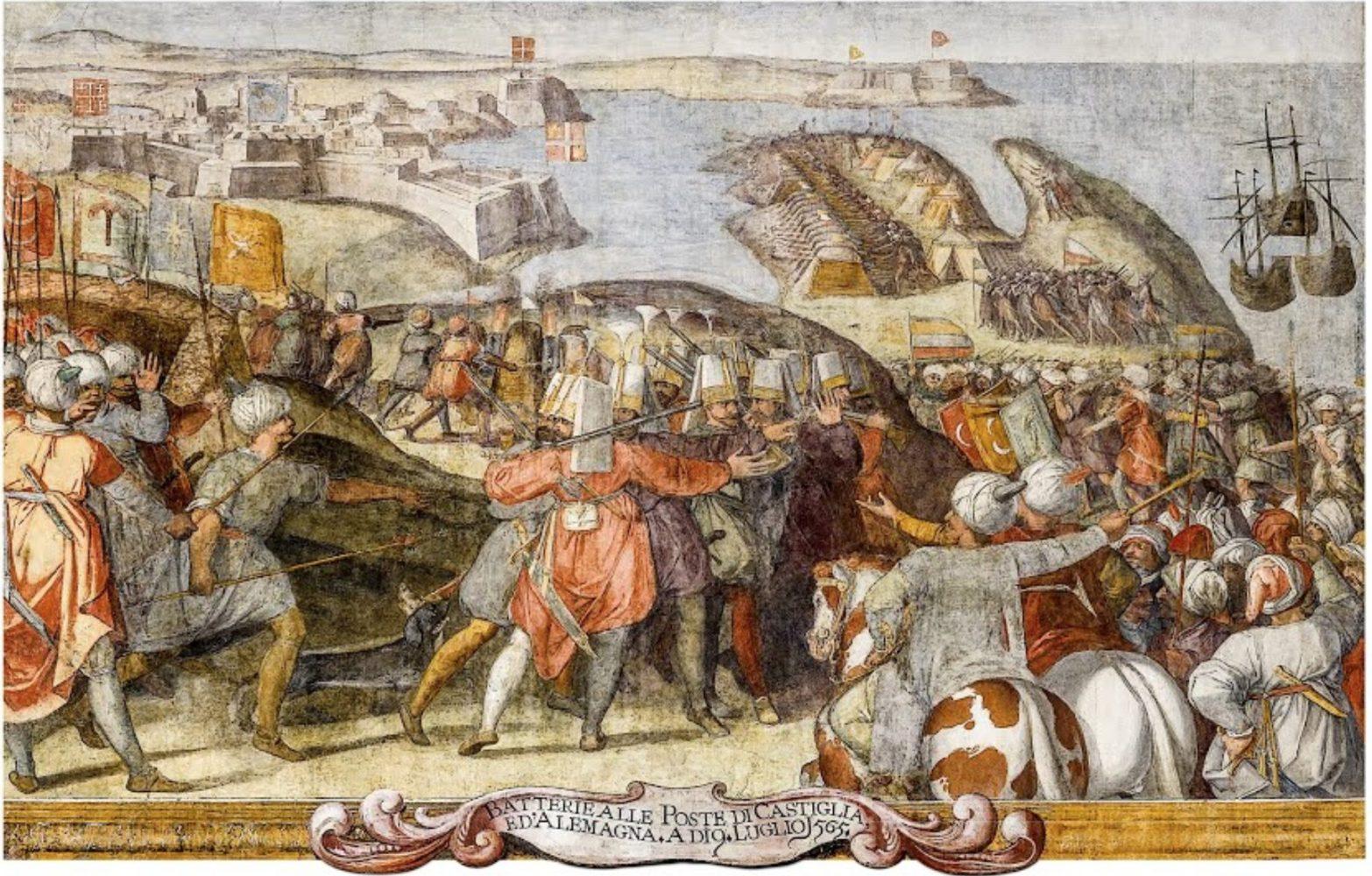 Осада Мальты в 1566 году (фреска Mattia Perez d'Aleccio).