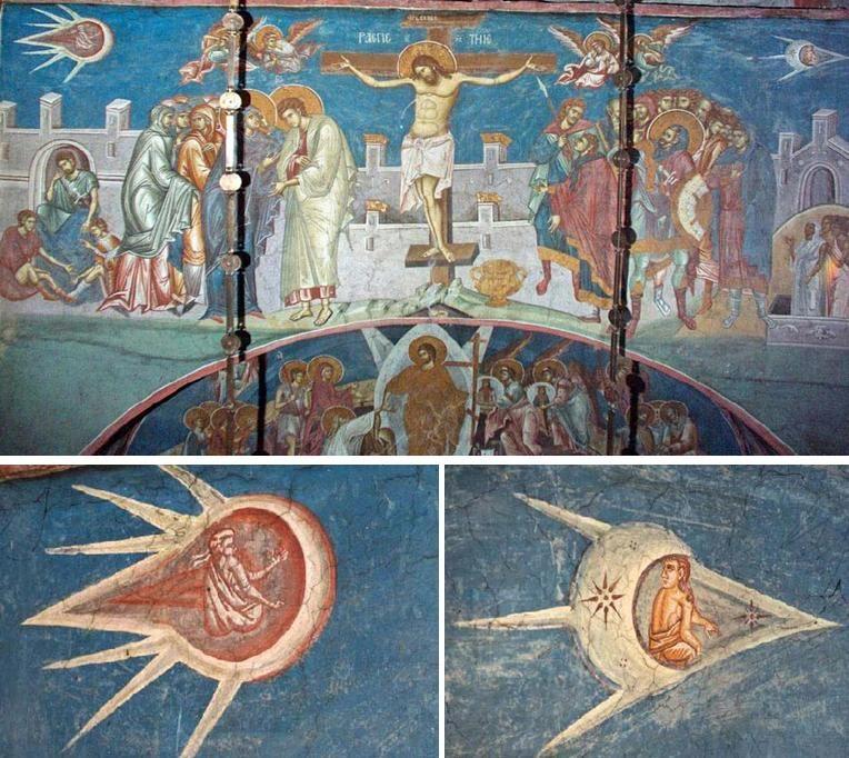 Изображение распятия Иисуса в монастыре Высокие Дечаны, Косово/Сербия.