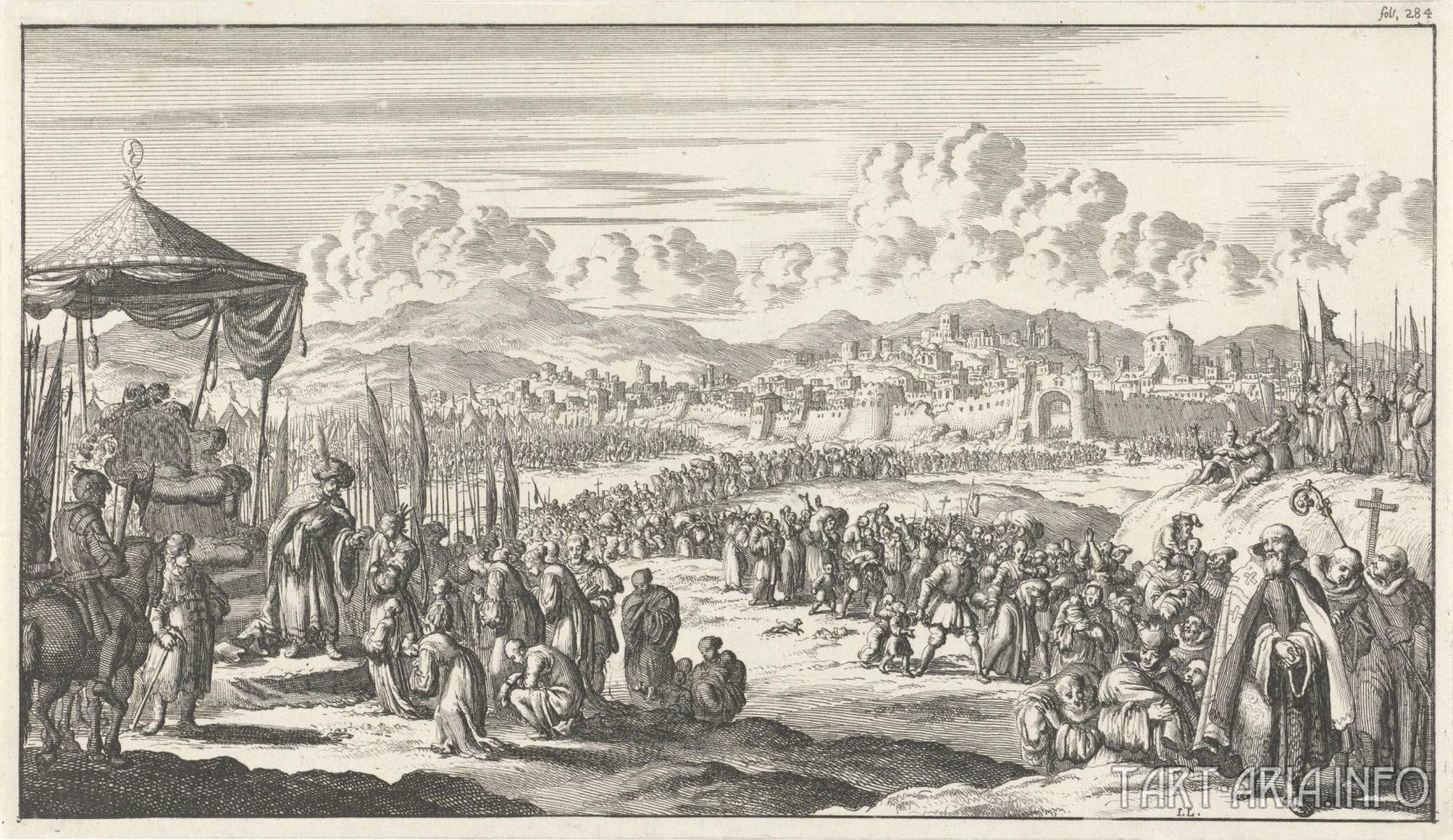 Recapture of Jerusalem in 1187 CE by Saladin (Engraved by Jan Luyken in 1683).