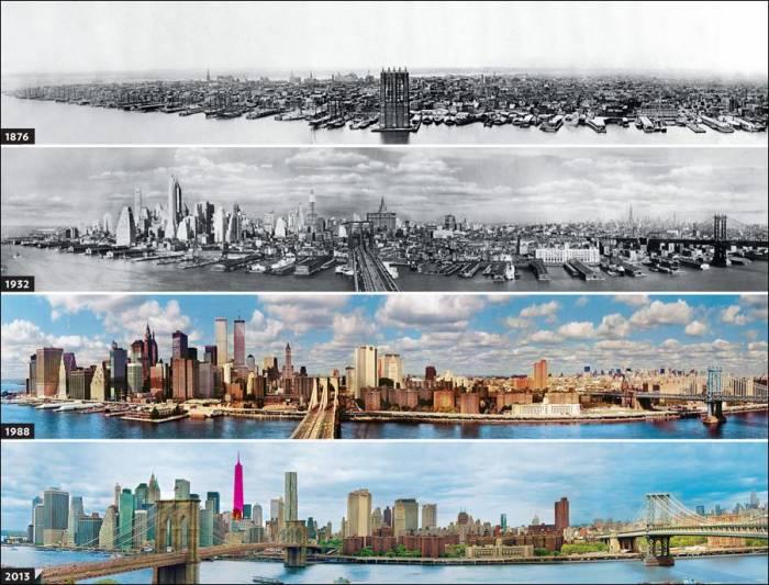 панорамы Нью-Йорка разных лет в сравнении
